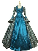 cheap Historical & Vintage Costumes-Cinderella Goddess Rococo Medieval Renaissance Costume Women's Cosplay Costume Masquerade Blue Vintage Cosplay Satin Party Prom Ball Gown Plus Size Customized