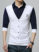 cheap Men's Sweaters & Cardigans-Men's Work Plus Size Cotton Polo - Color Block Shirt Collar / Long Sleeve
