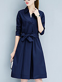 cheap Men's Shirts-Women's Daily / Going out Street chic Sheath Dress - Solid Colored Bow Shirt Collar
