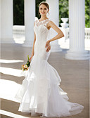 cheap Wedding Dresses-Mermaid / Trumpet Illusion Neck Sweep / Brush Train Lace / Tulle Custom Wedding Dresses with Appliques / Buttons / Tiered by LAN TING