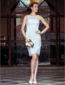 Χαμηλού Κόστους Νυφικά-Ίσια Γραμμή Illusion Seckline Μέχρι το γόνατο Μεταλλική δαντέλα Φορέματα γάμου φτιαγμένα στο μέτρο με Δαντέλα με LAN TING BRIDE®