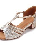 baratos Vestidos de Coquetel-Sapatos de Dança Latina Glitter / Courino Sandália / Salto Presilha Salto Robusto Personalizável Sapatos de Dança Dourado