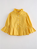 cheap Girls' Clothing-Girls' Solid Blouse, Cotton Fall Long Sleeves Yellow