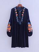 tanie Sukienki-Damskie Wyjściowe Moda miejska Bawełna Aksamit Luźna Sukienka - Jendolity kolor Haft Do kolan