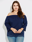 abordables Blusas para Mujer-Mujer Ahuecado - Camiseta, Escote Barco Un Color Poliéster