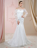 cheap Wedding Dresses-Mermaid / Trumpet Off Shoulder Court Train Lace Made-To-Measure Wedding Dresses with Appliques / Buttons / Crystals by LAN TING BRIDE® / Illusion Sleeve / Open Back / Royal Style