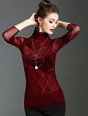 tanie Stylowe damskie płaszcze na zimę-T-shirt Damskie Vintage Moda miejska Golf Jendolity kolor