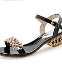 preiswerte Abendkleider-Damen Schuhe PU Frühling / Sommer Komfort Sandalen Blockabsatz Offene Spitze Strass / Imitationsperle / Schnalle Gold / Schwarz / Silber