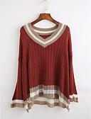 cheap Women's Sweaters-Women's Casual Long Sleeve Pullover - Striped, Ruffle Deep V / Fall / Winter