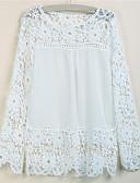 cheap Women-Women's Basic Plus Size Blouse - Solid Colored Cut Out Fuchsia XXXL / Spring / Summer