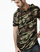 cheap Girls' Clothing-Men's Street chic Plus Size Cotton T-shirt - Camouflage Hooded