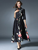 cheap Women's Dresses-Women's Chinoiserie Sheath / Swing Dress - Floral Ruched Maxi Turtleneck