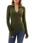 tanie T-shirt-T-shirt Damskie Moda miejska Wyjściowe Kołnierzyk koszuli Solidne kolory / Jesień / Zima