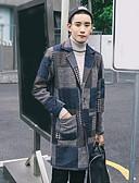 זול גברים-ג'קטים ומעילים-פשוט / יום יומי ארוך מעיל - בגדי ריקוד גברים, דפוס / שרוול ארוך