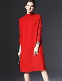 cheap Robes & Sleepwear-Women's Plus Size Going out / Weekend Casual Sweater Dress - Solid Colored Turtleneck Fall Red Yellow XXXL 4XL XXXXXL