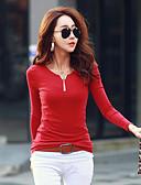abordables Camisas y Camisetas para Mujer-Mujer Noche Algodón Camiseta, Escote en Pico Un Color