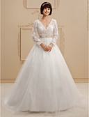 cheap Wedding Dresses-A-Line / Princess V Neck Court Train Lace / Tulle Custom Wedding Dresses with Beading / Sashes / Ribbons by LAN TING BRIDE®