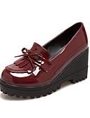 cheap Women's Pants-Women's Shoes PU(Polyurethane) Spring / Fall Comfort / Novelty Heels Wedge Heel Round Toe Bowknot / Tassel Black / Burgundy