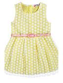 お買い得  女児 ドレス-女の子の 誕生日 日常 祝日 ジャカード コットン ドレス 夏 ノースリーブ パール ピンク イエロー