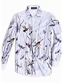 cheap Men's Shirts-Men's Chinoiserie Plus Size Shirt - Floral Animal