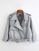 cheap Women's Blazers & Jackets-Women's Vintage Leather Jacket - Solid Colored