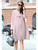 cheap Women's Coats & Trench coats-Women's Going out Simple Casual Winter Fall Coat,Solid Round Neck Long Sleeve Regular Wool Cotton