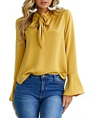 cheap Women's Blouses-Women's Work Blouse - Solid Colored Shirt Collar