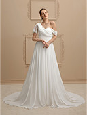 cheap Wedding Dresses-A-Line / Princess One Shoulder Court Train Chiffon / Sheer Lace Made-To-Measure Wedding Dresses with Sashes / Ribbons / Ruched by LAN