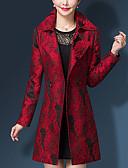 cheap Women's Coats & Trench Coats-Women's Work Plus Size Trench Coat Print Shirt Collar