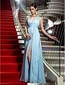 povoljno Večernje haljine-Kroj uz tijelo Presvlačenje dekoltea Do poda Šifon Formalna večer Haljina s Prednji izrez / Nabrano po TS Couture®