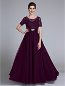 cheap Prom Dresses-Sheath / Column Scoop Neck Floor Length Chiffon / Lace Mother of the Bride Dress with Beading / Appliques / Crystals by LAN TING BRIDE®
