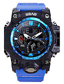 cheap Sport Watches-Men's Sport Watch / Wrist Watch Calendar / date / day / Water Resistant / Water Proof / LCD PU Band Casual / Fashion Blue / Red / Dual Time Zones / Stopwatch