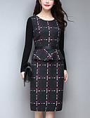 baratos Vestidos de Mulher-Mulheres Tamanhos Grandes Trabalho / Para Noite Bainha Vestido Listrado Médio / Altura dos Joelhos