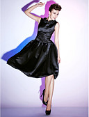 cheap Cocktail Dresses-Ball Gown Scoop Neck Knee Length Satin Little Black Dress Cocktail Party Dress with Ruffles / Ruched by TS Couture®