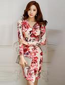 povoljno Print Dresses-Žene Slim Bodycon Korice Haljina - Naborano, Cvjetni print V izrez Iznad koljena