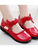 olcso Női kalapok-Lány Cipő Bőrutánzat Tavasz / Ősz Kényelmes / Virágoslány cipők Lapos mert Fekete / Piros / Rózsaszín