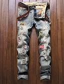 tanie Męskie spodnie i szorty-Męskie Punk & Gotyckie Bawełna Szczupła Typu Chino Jeansy Spodnie - Podarte, Jendolity kolor