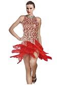 cheap Latin Dance Wear-Latin Dance Women's Performance Polyester Tassel Sleeveless Natural Dress