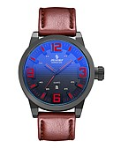 cheap Military Watches-Men's Sport Watch Japanese Quartz 30 m Water Resistant / Water Proof Calendar / date / day Genuine Leather Band Analog Fashion Brown - Blue Light Green Dark Green