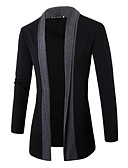 cheap Men's Sweaters & Cardigans-Men's Weekend Active Long Sleeves Slim Cardigan - Solid Colored Color Block Shirt Collar