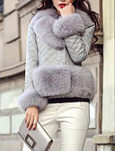 cheap Women's Fur Coats-Women's Street chic PU Fox Fur Fur Coat-Solid Colored V Neck