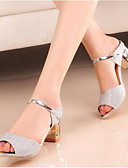 cheap Women's Dresses-Women's Shoes Nubuck leather / Glitter Spring / Fall Basic Pump Sandals Block Heel Gold / Silver