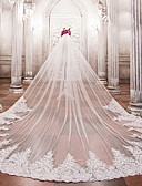 cheap Wedding Veils-One-tier Wedding Veil Cathedral Veils with Beading / Appliques Lace / Tulle / Angel cut / Waterfall