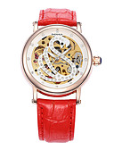 cheap Leggings-Women's Mechanical Watch Automatic self-winding 30 m Water Resistant / Water Proof Hollow Engraving PU Band Analog Charm Sparkle Black / White / Red - Red Pink Black / White