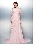 abordables Vestidos de Niña Florista-Corte en A Hombros Caídos Corte Raso Evento Formal Vestido con Botones / Recogido Lateral / Frontal Abierto por TS Couture®
