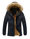 cheap Men's Tees & Tank Tops-Men's Daily Street chic Winter Plus Size Long Padded, Solid Colored Hooded Long Sleeve Eco-friendly Polyester Oversized Camel / Navy Blue / Khaki XXXL / 4XL / XXXXXL