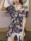 baratos Tops Femininos-Mulheres Blusa Floral Algodão Decote V