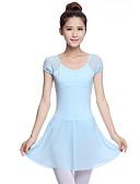 billige Bukser og skjørt til damer-Ballet Kjoler Dame Ytelse Bomull Kort Erme Naturlig Kjole