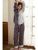 זול חלוקים & Sleepwear-בגדי ריקוד נשים צווארון V פיג'מות - דפוס, פסים