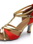 hesapli Sabahlıklar-Kadın's Dans Ayakkabıları İpek / Yapay Deri Latin Dans Ayakkabıları Sandaletler Kişiye Özel Kişiselleştirilmiş Gümüş / Kahverengi / Kırmzı / İç Mekan / EU40